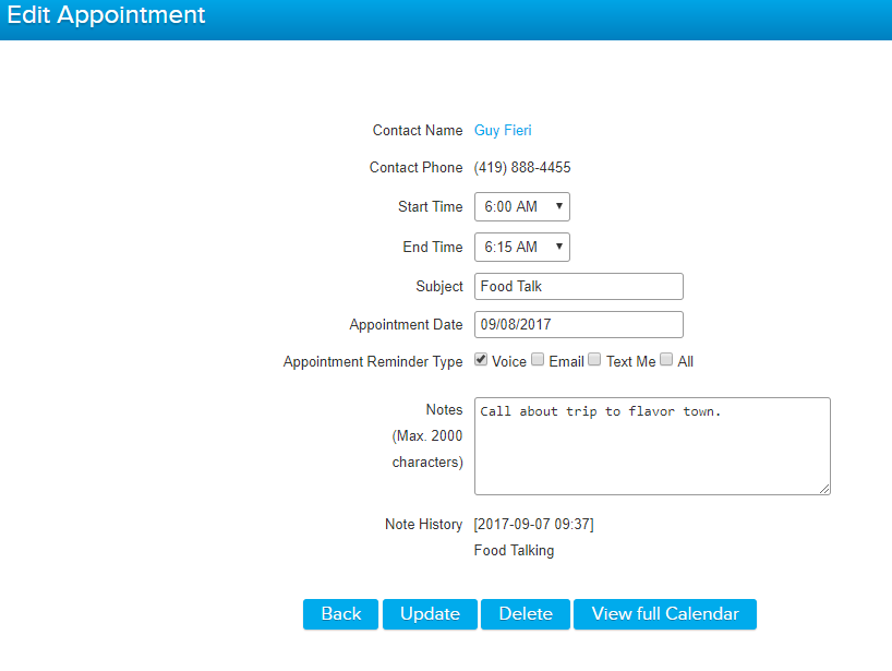 Creating & Editing Calendar Appointments – Call Logic